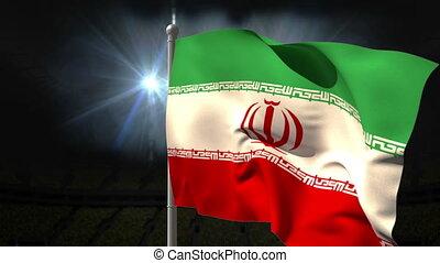 Iran national flag waving on flagpole on black background...