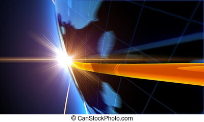 Global business concept . New York - Globe with network on...