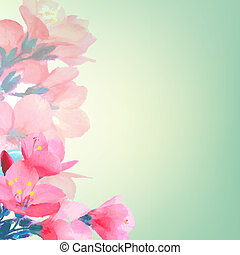 Pink Flowers, With Gradient Mesh, Vector Illustration