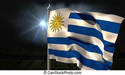 Uruguay national flag waving on flagpole on black background...