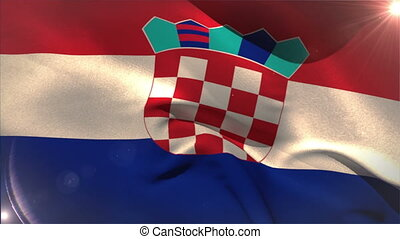 Large croatia national flag waving with lens flare