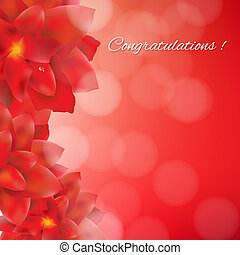 Red Flowers Card With Red Bokeh, With Gradient Mesh, Vector...