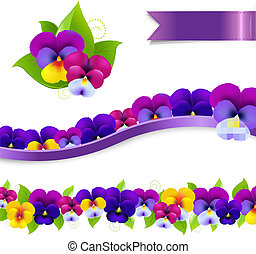 Pansies Borders Set, With Gradient Mesh, Vector Illustration