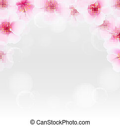 Cherry Flower Border With Blur, With Gradient Mesh, Vector...