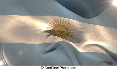 Large argentina national flag waving  with lens flare