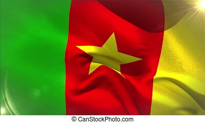 Large cameroon national flag waving with lens flare