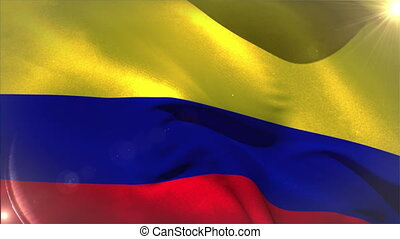 Large colombia national flag waving with lens flare