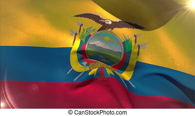 Large ecuador national flag waving with lens flare