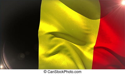Large belgium national flag waving with lens flare