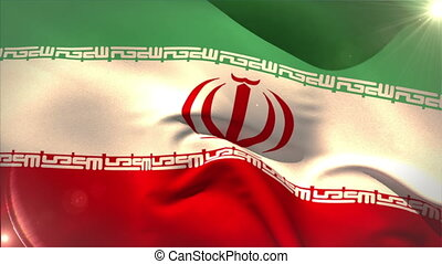 Large iran national flag waving with lens flare