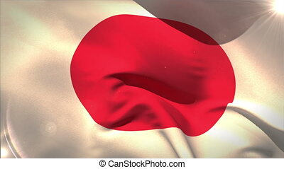Large japan national flag waving with lens flare