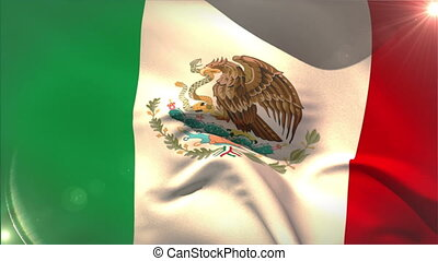 Large mexico national flag waving with lens flare