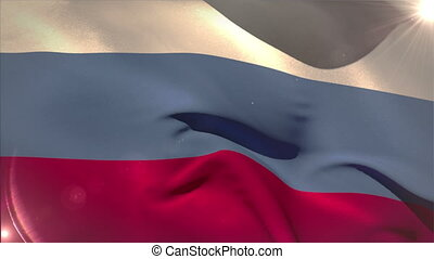 Large russia national flag waving with lens flare