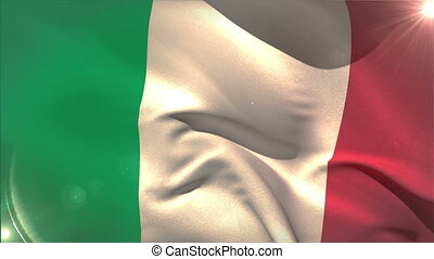 Large italy national flag waving with lens flare