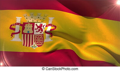 Large spain national flag waving with lens flare