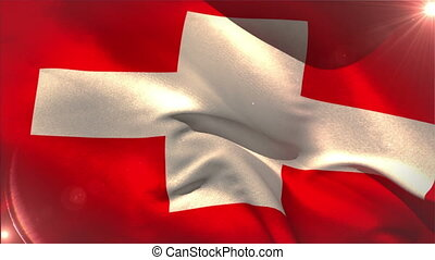 Large swiss national flag waving with lens flare