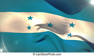 Large honduras national flag waving with lens flare