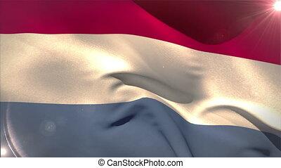 Large netherlands national flag waving with lens flare