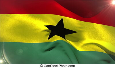 Large ghana national flag waving with lens flare
