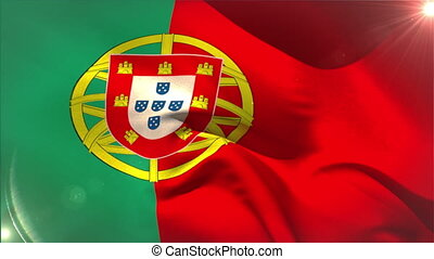 Large portugal national flag waving with lens flare