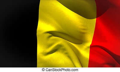 Large belgium national flag waving filling the screen