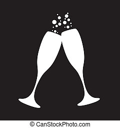 champagne glasses - black and white champagne glasses with...