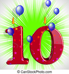 Number Ten Party Mean Numeral Candles Or Celebration Candles...