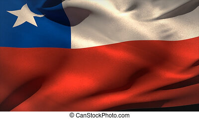 Large chile national flag waving filling the screen
