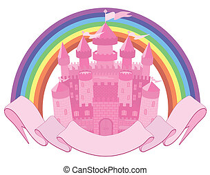 Fairy Tale magic castle and rainbow