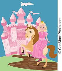 Little cute princess and pony