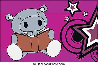 hippo baby cute reading cartoon