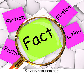 Fact Fiction Post-It Papers Mean Truth Or Myth - Fact...