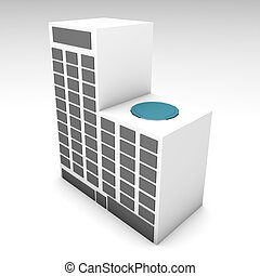 Apartment Building or Hotel 3d Clip Art
