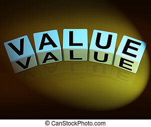 Value Dice Represent Importance Significance and Worth -...