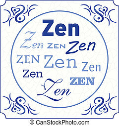 Original design of a traditional delft blue tile with...