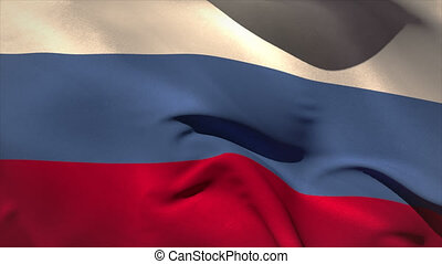 Large russia national flag waving