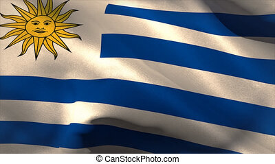 Large uruguay national flag waving filling the screen
