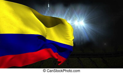 Large colombia national flag waving on black background with...