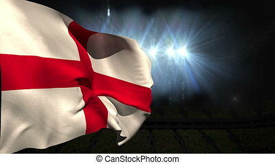 Large england national flag waving on black background with...