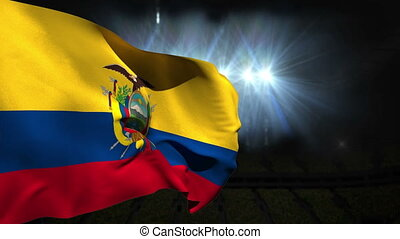Large ecuador national flag waving on black background with...