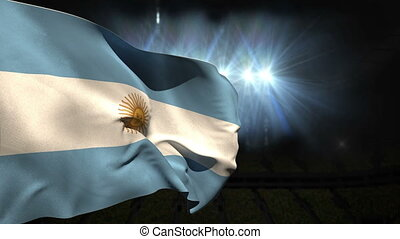 Large argentina national flag waving on black background...