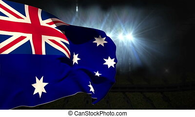 Large australia national flag waving on black background...