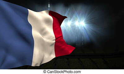 Large france national flag waving