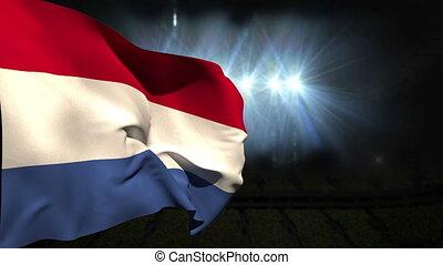 Large netherlands national flag waving on black background...