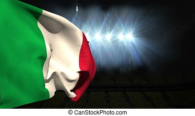 Large italy national flag waving on black background with...
