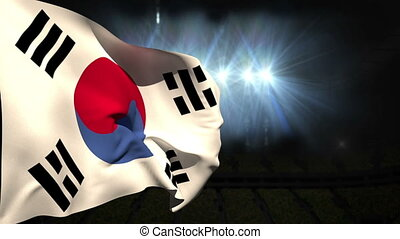 Large korea republic national flag waving on black...