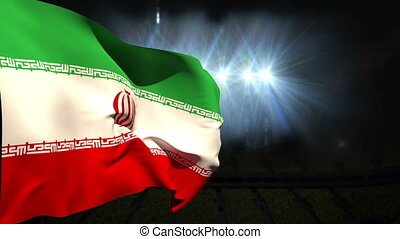 Large iran national flag waving on black background with...