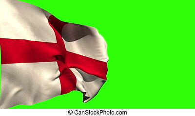 Large england national flag blowing on green screen...