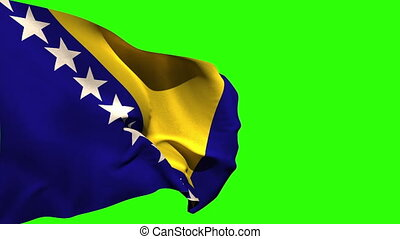 Large bosnia national flag blowing on green screen...