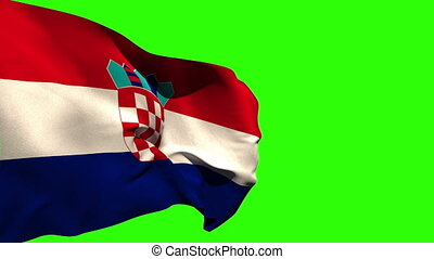Large croatia national flag blowing on green screen...